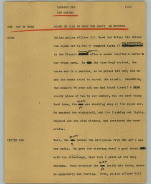 Primary view of object titled '[News Script: Damaged car]'.
