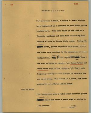 Primary view of object titled '[News Script: Statuary]'.