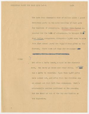 Primary view of object titled '[News Script: Christmas party for poor kids]'.