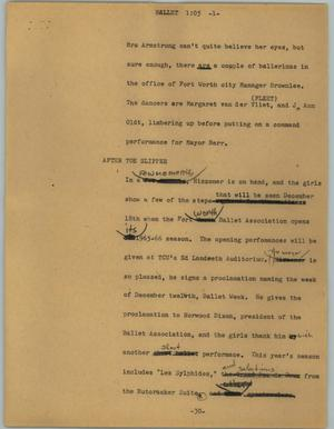 Primary view of object titled '[News Script: Ballet]'.