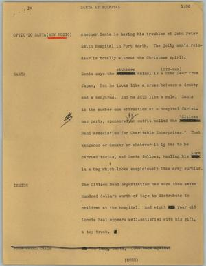 Primary view of object titled '[News Script: Santa at hospital]'.
