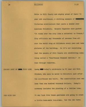 Primary view of object titled '[News Script: Hillsboro]'.