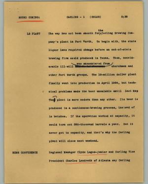 Primary view of object titled '[News Script: Carling]'.