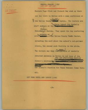 Primary view of object titled '[News Script: Mental health]'.