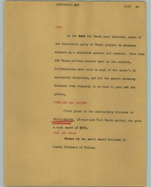 Primary view of object titled '[News Script: Democratic art]'.