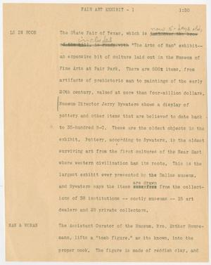 Primary view of object titled '[News Script: Fair art exhibit]'.