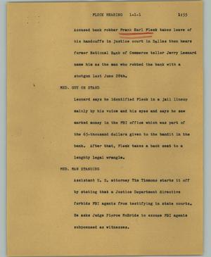 Primary view of object titled '[News Script: Fleck hearing]'.