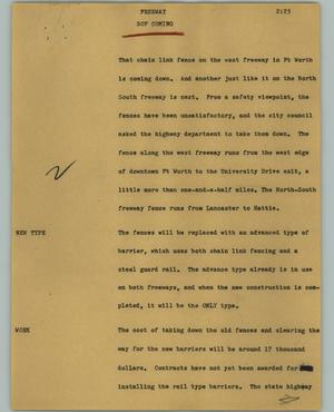 Primary view of object titled '[News Script: Freeway]'.