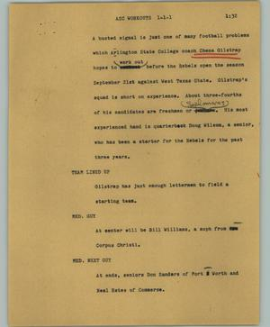 Primary view of object titled '[News Script: ASC workouts]'.