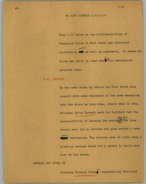 Primary view of object titled '[News Script: FW City Council]'.