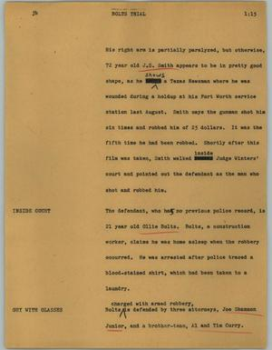 Primary view of object titled '[News Script: Bolts trial]'.