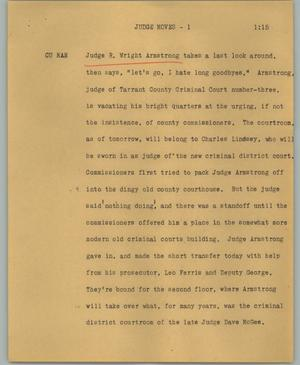 Primary view of object titled '[News Script: Judge moves]'.