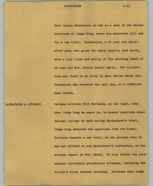 Primary view of object titled '[News Script: Hackathorn]'.
