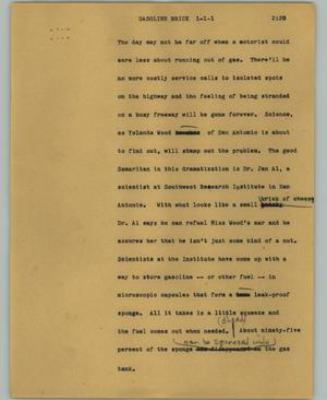 Primary view of object titled '[News Script: Gasoline brick]'.
