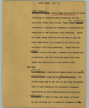 Primary view of object titled '[News Script: Court house]'.