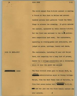 Primary view of object titled '[News Script: Miss Knok]'.