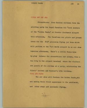 Primary view of object titled '[News Script: Golden hawks]'.