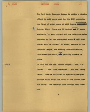 Primary view of object titled '[News Script: Symphony]'.