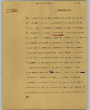 Primary view of object titled '[News Script: Navy secretary]'.