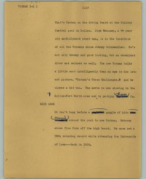 Primary view of object titled '[News Script: Tarzan]'.