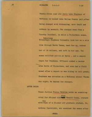 Primary view of object titled '[News Script: Kidnaper]'.