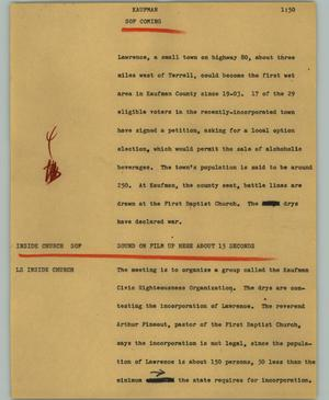 Primary view of object titled '[News Script: Kaufman]'.