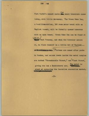 Primary view of object titled '[News Script: Inn]'.
