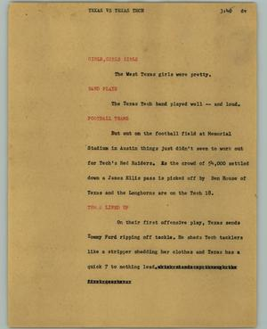 Primary view of object titled '[News Script: Texas vs. Texas Tech]'.