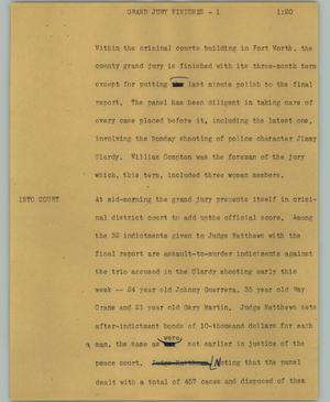 Primary view of object titled '[News Script: Grand jury finishes]'.