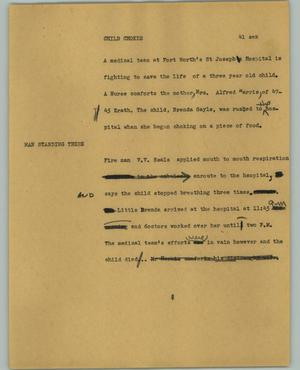 Primary view of object titled '[News Script: Child chokes]'.