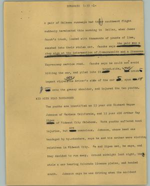 Primary view of object titled '[News Script: Runaways]'.