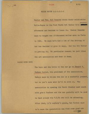 Primary view of object titled '[News Script: Rolls Royce]'.