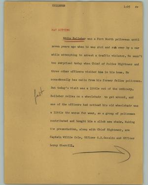 Primary view of object titled '[News Script: Kelleher]'.