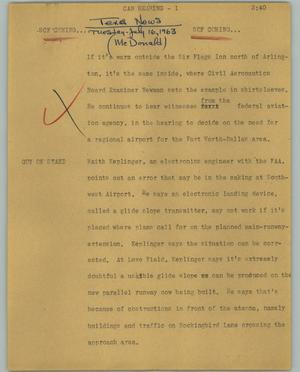 Primary view of object titled '[News Script: Cab hearing]'.