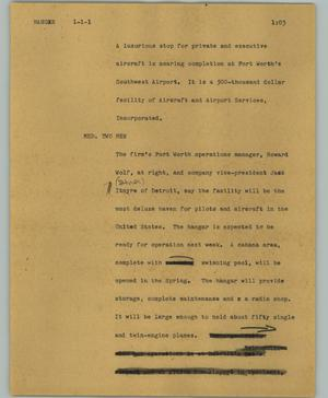 Primary view of object titled '[News Script: Hanger]'.