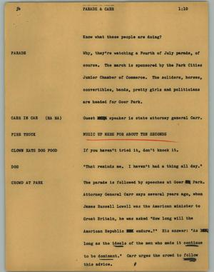 Primary view of object titled '[News Script: Parade & Carr]'.