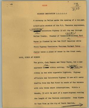 Primary view of object titled '[News Script: Highway dedication]'.