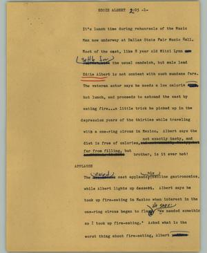 Primary view of object titled '[News Script: Eddie Albert]'.