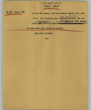 Primary view of object titled '[News Script: TCU rally]'.