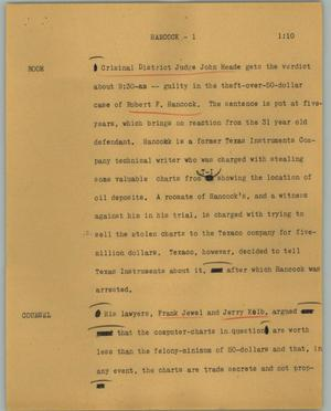 Primary view of object titled '[News Script: Hancock]'.