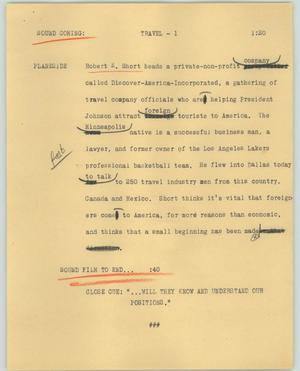 Primary view of object titled '[News Script: Travel]'.