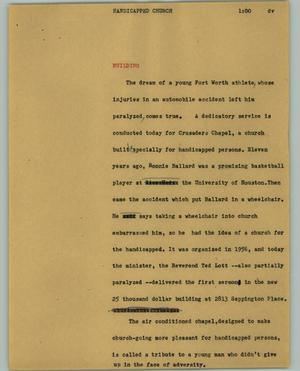 Primary view of object titled '[News Script: Handicapped church]'.
