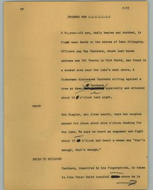Primary view of object titled '[News Script: Stabbed man]'.