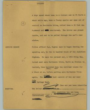 Primary view of object titled '[News Script: Speeder]'.
