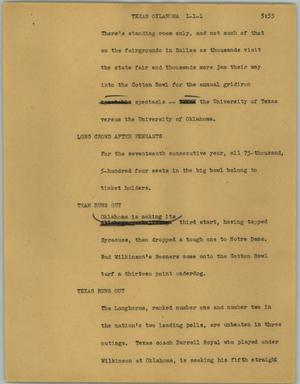 Primary view of object titled '[News Script: Texas Oklahoma]'.