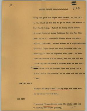 Primary view of object titled '[News Script: Murder trials]'.