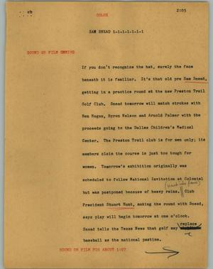 Primary view of object titled '[News Script: Sam Snead]'.