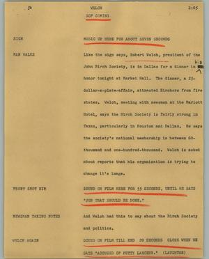 Primary view of object titled '[News Script: Welch]'.