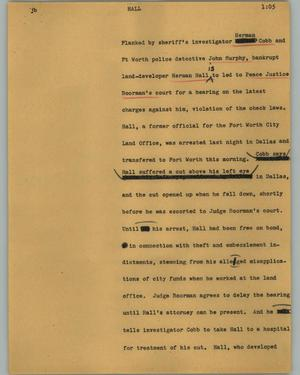 Primary view of object titled '[News Script: Hall]'.