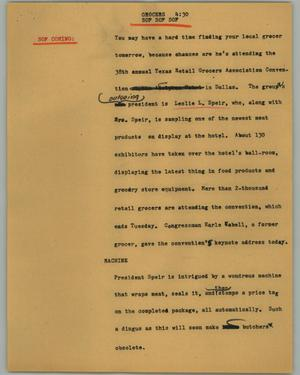 Primary view of object titled '[News Script: Grocers]'.